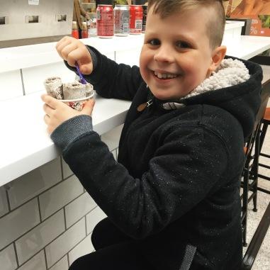 Henry really enjoyed his ice cream rolls!